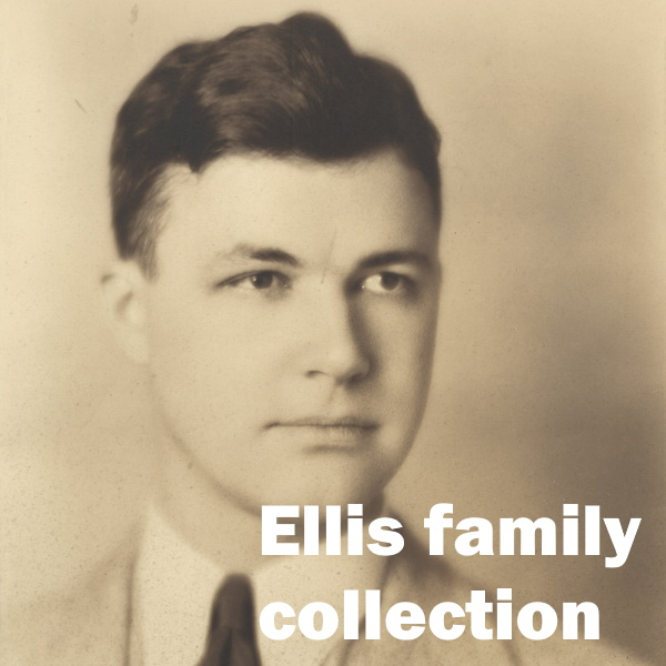 Ellis Family Collection: White words over a detail of a portrait of Charles Ellis