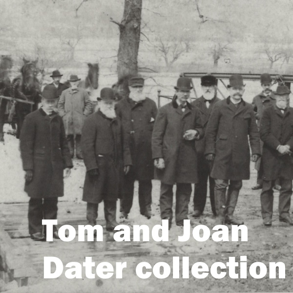 Tom and Joan Dater Collection: White words over a photo of 19th century men outdoors