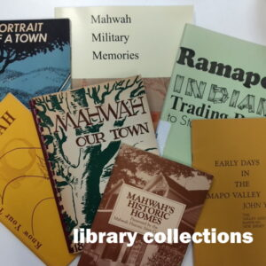 Library Collections: White words over a collage of local history books.