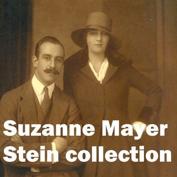 Suzanne Mayer Collection: White words on a sepia photgraph of a man and women from the 1900s.