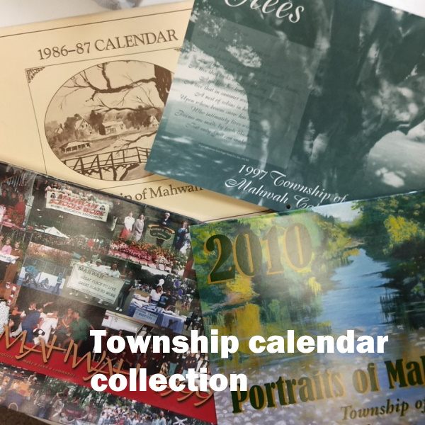 Township Calendar Collection: White words on a background of a collage of calendar covers showing Mahwah scense.