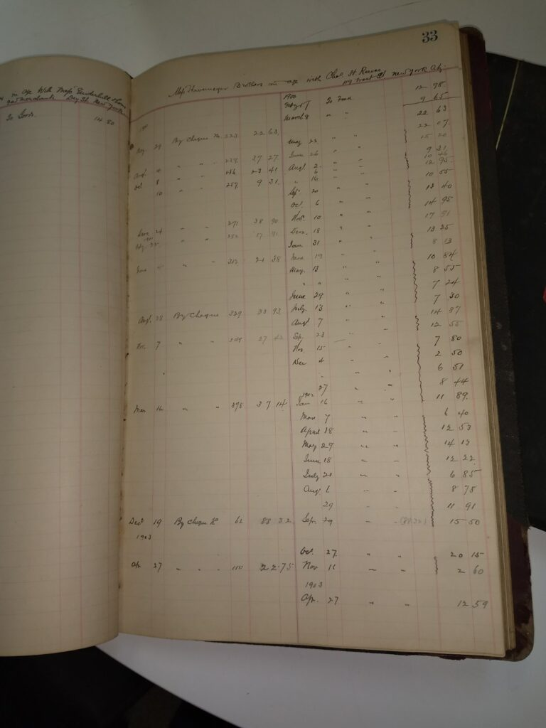 A color photo of a ledger with columns and numbers