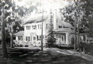 Black and white painting of the Sheffield House