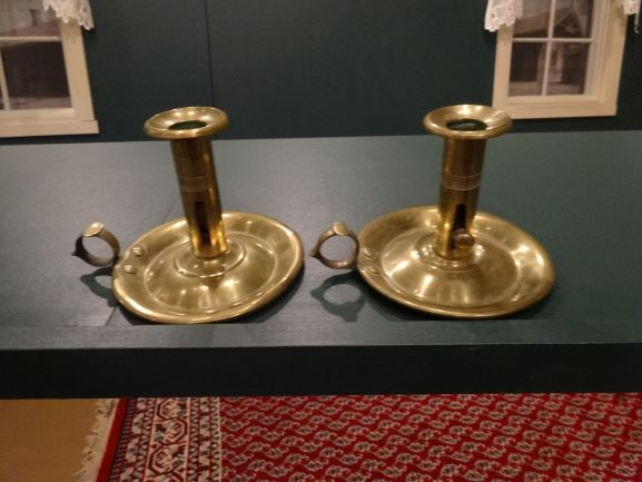 Candlesticks which belonged to Maria Mowerson Pulis (b 1825)